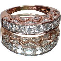 14k Rose Gold Diamond Band - Stunning Design