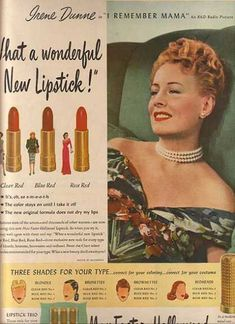 vintage beauty ads with celebrities | Max Factor – Hollywood Lipstick – Irene Dunne (1947)