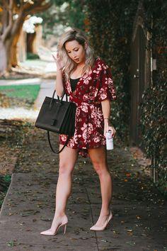 Blondie in the City   Pink Rose Romper   YSL Bag, Saint Laurent Sac De Jour   Pink Louboutin's