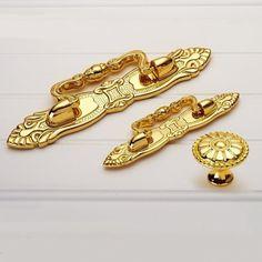 "2.5"" 3.78""Dresser Pulls Knobs Drawer Knobs Pulls Handles Gold Cabinet Knobs Pulls Ornate Decorative Hardware Pull Handle Knob Modern 64 96mm by MINIHAPPYLV on Etsy"