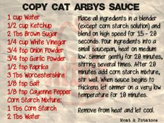 Arby's Sauce: Taste like the real thing! *note: the cornstarch mixture made it thicker than Arby's sauce. I added a little extra water to thin it back out some. I probably won't add the cornstarch next time. Copykat Recipes, Sauce Recipes, Cooking Recipes, Arbys Sauce Recipe, Cat Recipes, Crockpot Recipes, Chicken Recipes, Arby's Sauce, Marinade Sauce