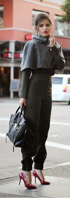 Luv to Look   Luxury Fashion & Style: Street style cape blouse trousers