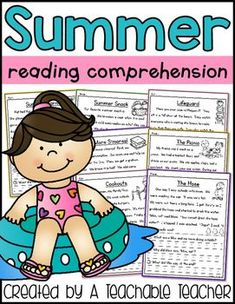 Summer Reading Comprehension is the perfect way to practice reading fluency and comprehension! These engaging stories and reading comprehension questions will entertain students for morning work, homework, small groups, or independent work. Kindergarten reading first grade reading prevent summer slide reading passages 1st grade
