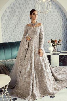 Silver Bridal Walima Dress by Sana Yasir Asian Bridal Wear, Asian Bridal Dresses, Asian Wedding Dress, Bridal Outfits, Indian Dresses, Indian Outfits, Dresses Uk, Pakistani Wedding Outfits, Pakistani Bridal Dresses