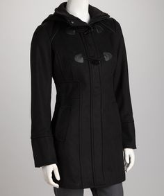 Just ordered mine!! Crazy savings today!! Loving this Yoki Black Hooded Toggle Coat - Women on #zulily! #zulilyfinds
