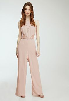 Lace-Paneled Wide-Leg Jumpsuit | FOREVER21 - 2049257791