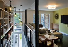 Lighting idea for stairwell.  Use west elm industrial globes w/ edison bulbs.