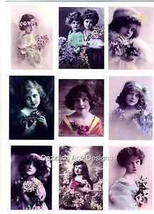 Set of Nine Vintage Children Photos Card Making Toppers / Embellishments