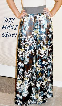Make Your Own: DIY Maxi Skirt Tutorial that is Quick, Easy, Cute. This is a great step by step guide to making your own maxi skirt.