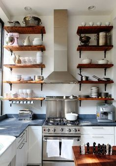 2014 Home Decor Trends: Open Shelving! Tons of great ideas to incorporate open shelving in YOUR home! Kitchen Interior, Shelves, Home Decor Trends, Kitchen Remodel, Kitchen Countertops, Home Kitchens, Kitchen Shelves, Kitchen Renovation, Kitchen Design