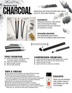 How to Draw with Charcoal handout for beginners or art studio courses. How to Draw with Charcoal handout for beginners or art studio courses. Basic Drawing, Drawing Lessons, Drawing Tips, Drawing Tutorials, Art Tutorials, Art Lessons, Drawing Ideas, Drawing Techniques Pencil, Drawing For Beginners