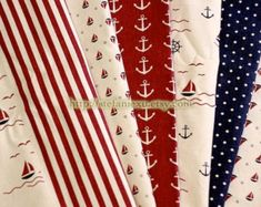 Nautical Marine-Anchor, Sailing Boats, Dots and Stripe Patchwork(NATURAL White)-Linen Cotton Blended Fabric(1/2 Yard)