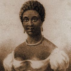 Phillis Wheatley was brought to Boston from Senegal as a slave child who spoke no English. She was purchased by John Wheatley as a personal servant to his wife. The Wheatleys educated Phillis, who mastered English, Latin, and Greek. Her volume of English poetry, published in 1773, is the earliest known publication by an African-American writer. [This rare portrait from Revue des Colonies in Paris shows her full face and wearing an evening dress and jewelry.]