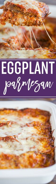 This is the BEST Eggplant Parmesan recipe! With layers of fried eggplant, spaghetti sauce, and loads of cheese. @browneyedbaker