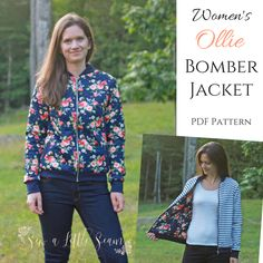 """The Women's Ollie Bomber Jacket is a PDF sewing pattern in sizes 0/2 (32"""" bust) to 28 (50"""" bust). This knit jacket is great for sturdy knits such as French terry, Liverpool, and sweatshirt fleece. It can be fully lined and reversible or left unlined for a quick sew. It also has the option of welt pockets. Features: Layered pattern Photo tutorial Prints on letter and A4 size paper Option to print waistband and cuffs or use cut chart provided"""
