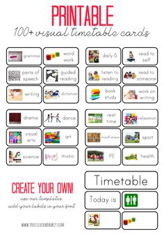 Visual Timetable Cards plus Blank Editable Cards - cards to choose from. Perfect for the Early Years, these visual timetable cards support beginning readers and writers and help establish routines and independence in young children Visual Schedule Printable, Visual Schedule Autism, Visual Schedules, Classroom Schedule, Kids Schedule, New Classroom, Preschool Schedule Cards, Autism Classroom, Visual Timetable