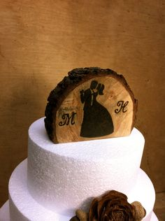 Rustic wedding cake topper wooden country forest winter weddings. $25.00, via Etsy.