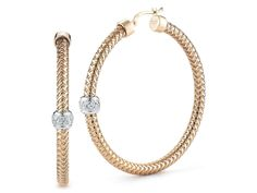 Check out these gorgeous Roberto Coin 18K Yellow and White Gold Woven Diamond Hoop Earrings!!