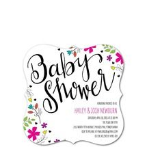 Flashy Floral Baby Invitations