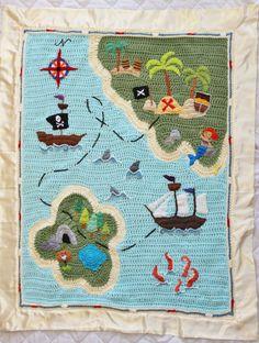 Couverture de bébé Pirate Treasure carte au Crochet