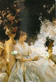 John Singer Sargent (American artist, 1856-1925) In a Garden Corfu 1909.