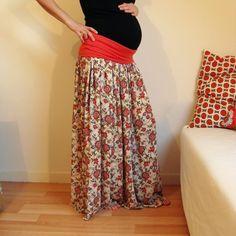 Petit intermède dans la couture pour bébé❤... parce qu'il faut bien que je m'habille quand-même! Jupe longue avec la ceinture en jersey