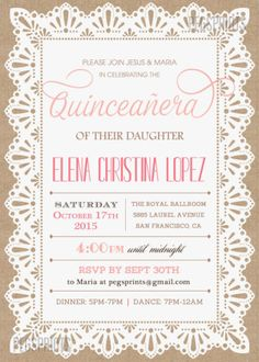 A Cheat Sheet for your Quinceanera Invitation Wording Pinterest