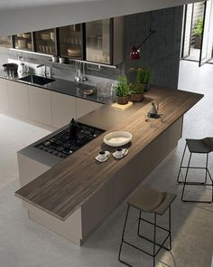 55 modern kitchen ideas decor and decorating ideas for kitchen design 2019 26 Luxury Kitchen Design, Kitchen Room Design, Kitchen Cabinet Design, Home Decor Kitchen, Modern House Design, Interior Design Kitchen, Home Kitchens, Kitchen Ideas, Kitchen Modern
