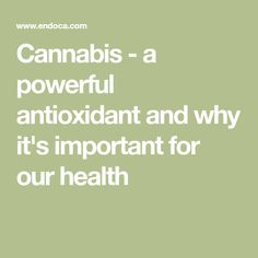 Cannabis - a powerful antioxidant and why it's important for our health