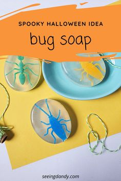 This spooky bug soap is the perfect DIY idea for Halloween! Perfect for the school Halloween party. #diy #halloweenparty #halloween #bugsoap #soapmaking #soap #schoolparty