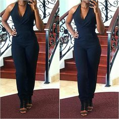 """Crepe Halterneck Jumpsuit A stunning jumpsuit in a high quality crepe fabric. This piece is so incredibly chic and looks even better in person. Features exposed back with zipper closure and v-neckline. I equate this jumpsuit to dress sizes 2 and 4. Brand new with tags.  No Trades. No Paypal. PRICE IS FIRM.   I'm 5'7"""" and my measurements are 34-27-40.    Pants Jumpsuits & Rompers"""
