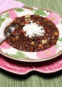 American Institute for Cancer Research recipe for Greek Lentil Stew. Good source of soluble fiber and folate.