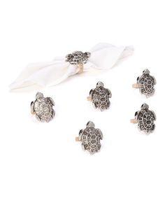 Look at this #zulilyfind! Sea Turtle Napkin Ring - Set of Six #zulilyfinds