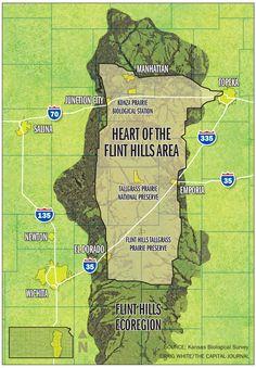 Map of the Flint Hills area.  Last stop... Newton, Marion & Peabody Kansas