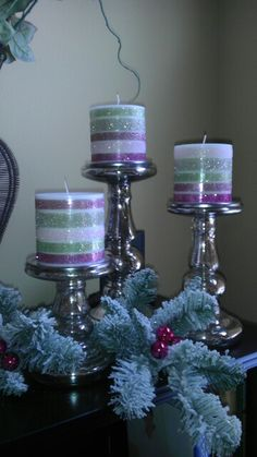 glittered candles -DIY use double sided tape in several widths and fine glitter. Use unscented candles so tape sticks better.