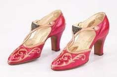 Vintage 1927 evening shoes - Marshal Field and Co ( leather & rhinstone)