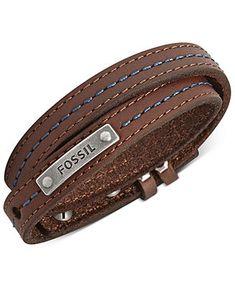 Fossil Men's Bracelet, Brown Leather and Blue Stitching Wrap Bracelet