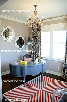 oh my goodness!! Several DIY bloggers got together to make over this house and it is AWESOME! I LOVE the painted rug in the office and the trellis and swing bed on the patio! This whole house is inspiring! :]