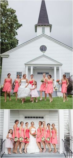Fun photos of the bride and bridesmaids in front of the church on her wedding day! Click to view more of this wedding!