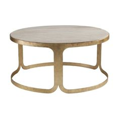 Inspired by a statement bracelet, the Bennett Table features a fluid, curvaceous frame that wraps around a stone top like a cuff around a wrist. The luxe travertine and hand clad gold leafed base highlight Bennett's striking simplicity. The Art Deco inspired materials and vintage meets modern silhouette allows Bennett to shine in any interior.<br/>