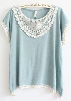 Light Blue Patchwork Lace Short Sleeve T-Shirt