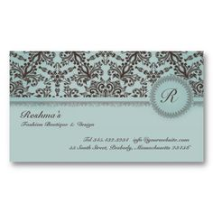 Elegant Damask Swirl Brown & Blue Wedding Business Card. It's two-sided with no additional charge, and totally customizable!