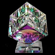 Optical Crystal Cube on Base Paperweight
