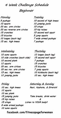 Beginner 4 Week Exercise Challenge Schedule, Loose Pounds Fast!
