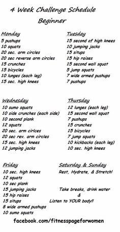Beginner 4 Week Exercise Challenge Schedule, Loose Pounds Fast! #Sports #Trusper #Tip