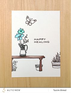 A little scene for a Get Well card using the Garden Grow stamp set | Altenew July 2015 Blog Hop and Release!