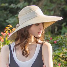 Elegance wide brim straw hat for women with bow package sun hats UV