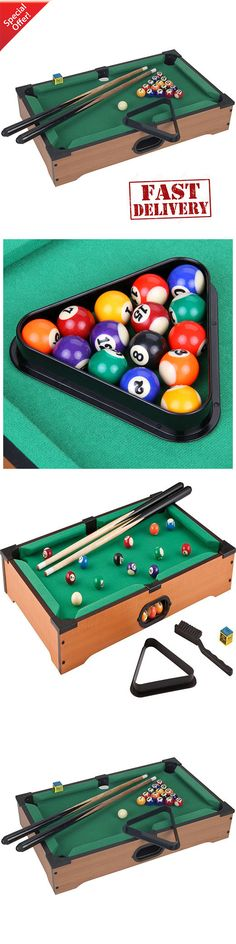 Tables 21213: Mini Pool Table Game Set Tabletop Billiards Cues Balls  Portable Billiard Chalk