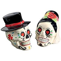 Amazon.com: Day of the Dead Bride and Groom Skulls Ceramic Salt and Pepper Shakers: Kitchen & Dining