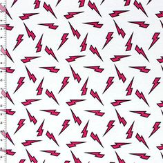 Fuchsia Black Lightning Bolt Cotton Spandex Knit Fabric